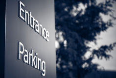 Entrance Parking Sign. Toned version Royalty Free Stock Photography