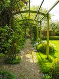 Pergola in the garden during spring. The entrance pergola to the garden during spring, flanked by white daffodils and crocuses and a blooming apple tree in the Stock Photography