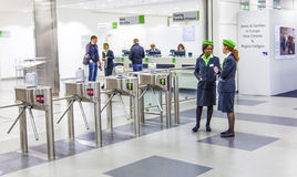 Entrance of the Photokina - Hostesses stock images