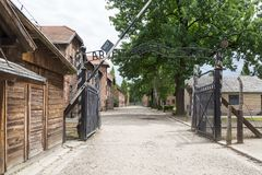 Entrance of Nazi concentration camp Auschwitz I royalty free stock photo