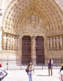 Entrance porch of Notre Dame de Paris. Portal of the Last Judgement royalty free stock photos