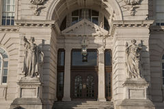 Entrance of Port Building, Pier Head, Liverpool Royalty Free Stock Photos