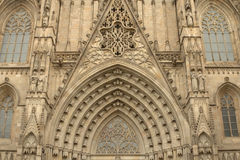 Entrance portal of Gothic Barcelona Cathedral Stock Photo