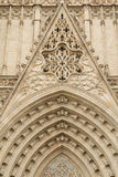 Entrance portal of Gothic Barcelona Cathedral Stock Photos