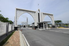 Entrance of Puncak Alam Mosque at Selangor, Malaysia. SELANGOR, MALAYSIA – JANUARY 05, 2015: Puncak Alam Mosque located at Puncak Alam, Selangor, Malaysia royalty free stock photos