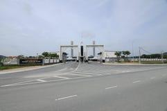Entrance of Puncak Alam Mosque at Selangor, Malaysia. SELANGOR, MALAYSIA – JANUARY 05, 2015: Puncak Alam Mosque located at Puncak Alam, Selangor, Malaysia stock photos