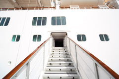 Entrance with rails and stairs in passenger liner Royalty Free Stock Photos