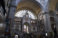 Entrance of the railway station in Antwerp Stock Photography