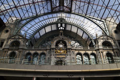 Entrance of the railway station in Antwerp Stock Photos