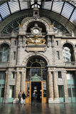 Entrance of the railway station in Antwerp Stock Photo