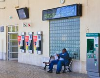 Entrance of the railway station. Cascais. Portug Royalty Free Stock Photo