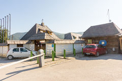 Entrance and reception in Kusturica Drvengrad in Serbia stock photo