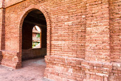 Entrance red brick wall Royalty Free Stock Photo