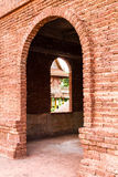 Entrance red brick wall Royalty Free Stock Photos