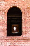 Entrance red brick wall Royalty Free Stock Photography