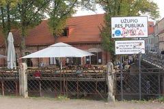 Entrance of the Republic Uzupio, a district in Vilnius, Lithuania Stock Image