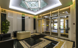 Entrance of a residential building with an elevator Royalty Free Stock Photos