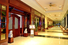 The entrance in restaurant and interior of luxury hotel Stock Photos