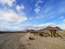 Entrance of Rhyolite, Nevada of United States.  Stock Photo
