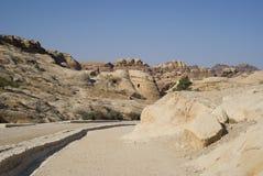 Entrance road, ancient city of Petra, Jordan Royalty Free Stock Photo
