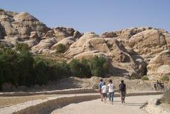 Entrance road, ancient city of Petra, Jordan Stock Photos