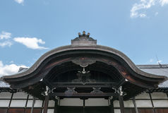 An entrance roof, part of Nijo Castle in Kyoto. Nijo Castle also known as Second Palace, Ninomaru Palace, a flatland castle founded 1679, Kyoto. Japan Royalty Free Stock Images