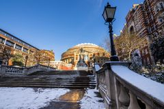 The entrance of the Royal Albert Hall in London. UK covered in snow Stock Photos