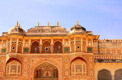 Entrance in royal palace, Amber Fort, Jaipur, Rajasthan, India Royalty Free Stock Photo
