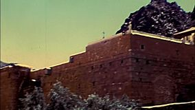 Archival Sinai Saint Catherine Monastery. Entrance of Saint Catherine Monastery in the Sinai Peninsula. The oldest Christian Monastery of Egypt, during the stock video footage