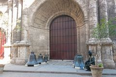 Entrance of San Francisco church in Old Havana, a famous touristic landmark on the colonial city. HAVANA, CUBA - JANUARY 16, 2017: Entrance of San Francisco royalty free stock image