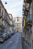 Entrance of Sant`Agata alle vergini cathedral from Catania Stock Photography