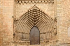 A entrance of Santa Maria la Mayor church, Valderrobres, Mantarray royalty free stock photos