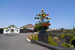 Entrance and sculpure in volcanic area Stock Photography
