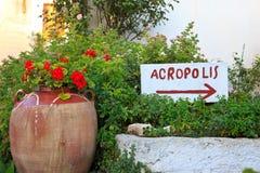 Entrance sign at the Acropolis. Athens, Greece Royalty Free Stock Photos