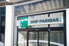 Entrance sign of bank bnp paribas in paris, france Royalty Free Stock Photo