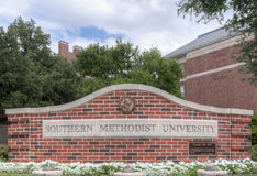 Entrance Sign on the Campus of Southern Methodist University Royalty Free Stock Photography