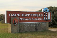 Entrance Sign for Cape Hatteras. Entrance Sign at Cape Hatteras National Seashore in the state of North Carolina Royalty Free Stock Photo