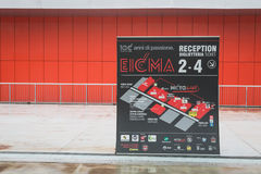 Entrance sign at EICMA 2014 in Milan, Italy Stock Photos