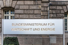 Entrance sign of the federal ministry of econimics and energy Stock Photos