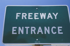 Entrance sign for freeway Royalty Free Stock Image