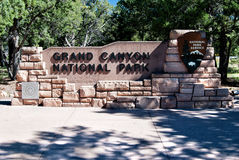 Entrance sign Grand Canyon NP. Sign at the entrance of Grand Canyon National Park Stock Photo