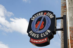 Entrance sign of the Ground Zero Blues Club, in Clarksdale. CLARKSDALE, MISSISSIPPI, May 9, 2015 : Entrance sign of the Ground Zero Blues Club in Clarksdale royalty free stock photo