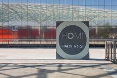 Entrance sign at HOMI, home international show in Milan, Italy Royalty Free Stock Photography