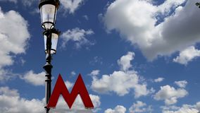 Entrance sign of the Moscow metro on a background of the sky. Russia  . stock video