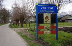 Den Hout village in North Brabant, the Netherlands. Entrance sign near the village of Den Hout in North Brabant, the Netherlands stock photos