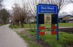 Den Hout village in North Brabant, the Netherlands. Entrance sign near the village of Den Hout in North Brabant, the Netherlands Stock Photos