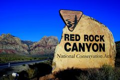 Entrance Sign, Red Rock Canyon National Conservation Area, Las Vegas, Nevada, USA. Red Rock Canyon was designated as Nevadas first National Conservation Area Royalty Free Stock Images