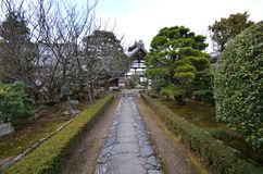 Entrance sign stone walkway in Tenryu-ji temple area Royalty Free Stock Photography
