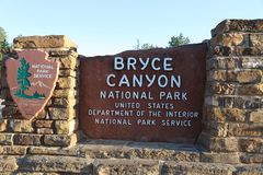 Entrance Sign to Bryce Canyon National Park in Utah Royalty Free Stock Images