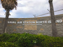 Entrance sign to Naval Air Station North Island in California Stock Photos